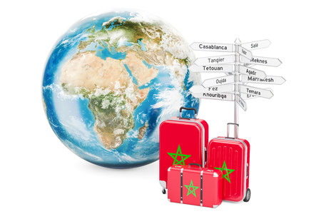 Morocco travel concept. Suitcases with signpost and Earth Globe, 3D rendering