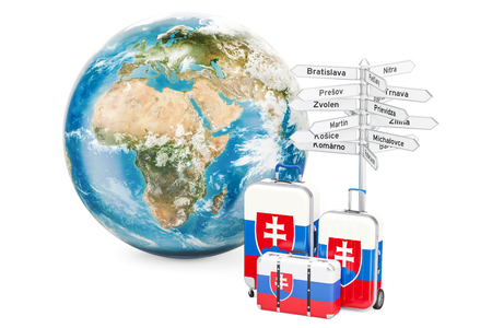 Slovakia travel concept. Suitcases with signpost and Earth Globe, 3D rendering Foto de archivo