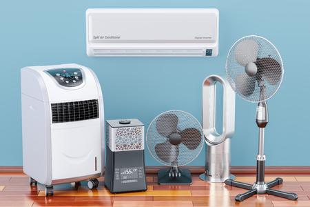 Dispositivi elettrici di raffreddamento e climatizzazione sul pavimento di legno. Rendering 3D Archivio Fotografico