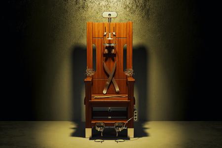 Electric chair in the dark room, 3D rendering
