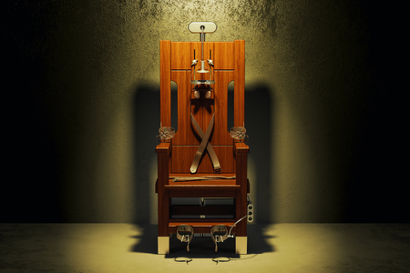 Electric chair in the dark room, 3D rendering