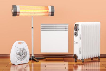 Dispositivos de calefacción. Convección, ventilador, calentadores de aceite e infrarrojos, representación 3D