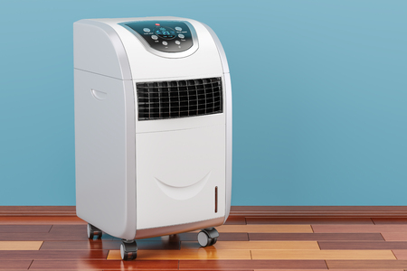 Portable Air Conditioner in room on the wooden floor, 3D rendering 스톡 콘텐츠