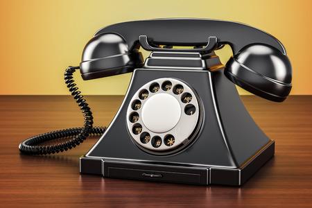 Retro black telephone on wooden table, 3D rendering