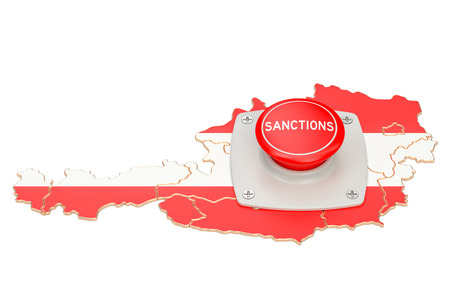 Sanctions button on map of Austria, 3D rendering isolated on white background