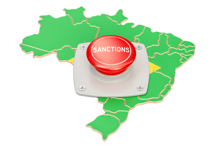 Sanctions button on map of Brazil, 3D rendering isolated on white background