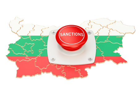 Sanctions button on map of Bulgaria, 3D rendering isolated on white background