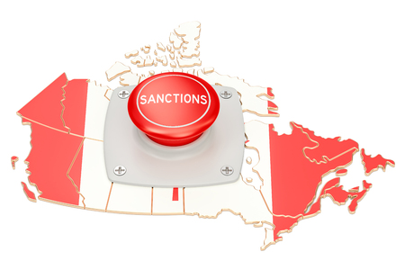 Sanctions button on map of Canada, 3D rendering isolated on white background