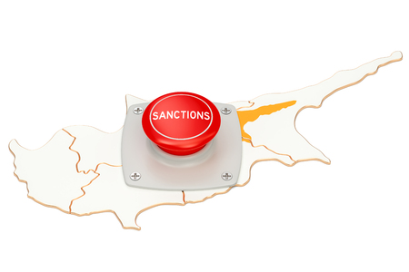 Sanctions button on map of Cyprus, 3D rendering isolated on white background