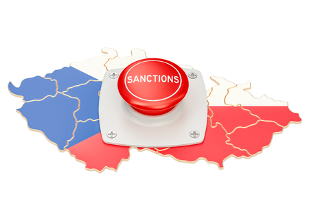 Sanctions button on map of Czech Republic, 3D rendering isolated on white background Stock Photo