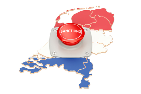 Sanctions button on map of Holland, 3D rendering isolated on white background
