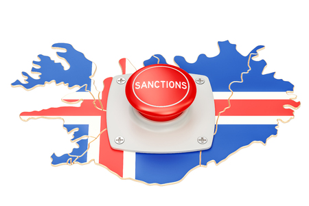 Sanctions button on map of Iceland, 3D rendering isolated on white background