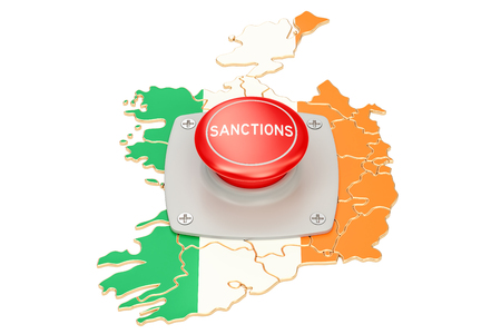 Sanctions button on map of Ireland, 3D rendering isolated on white background