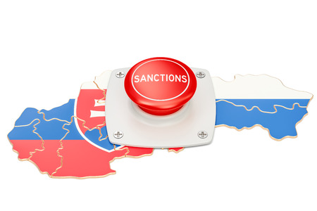 Sanctions button on map of Slovakia, 3D rendering isolated on white background