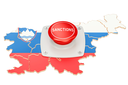 Sanctions button on map of Slovenia, 3D rendering isolated on white background Stock Photo