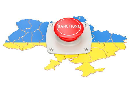Sanctions button on map of Ukraine, 3D rendering isolated on white background