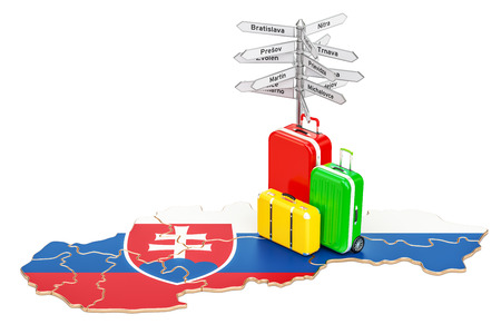 Slovakia travel concept. Slovak map with suitcases and signpost, 3D rendering