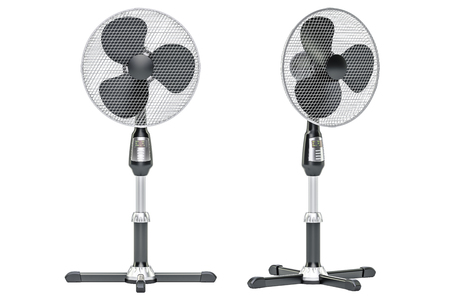 Standing Pedestal Electric Fans front and side views, 3D rendering