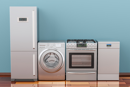 Washing machine, gas stove, fridge and dishwasher in room on the wooden floor, 3D rendering