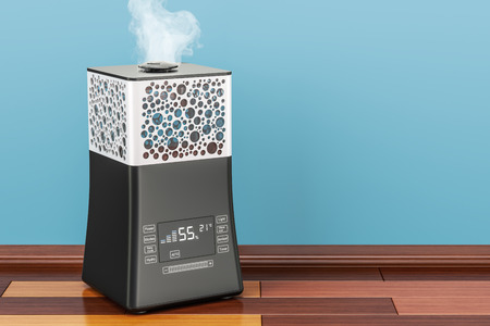 Working ultrasonic humidifier with fog, 3D rendering Фото со стока