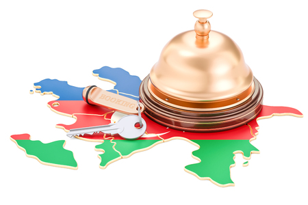 Azerbaijan booking concept. Flag with hotel key and reception bell, 3D rendering