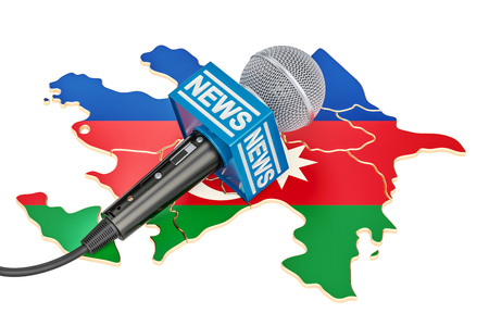 Azerbaijan News concept, microphone news on the map. 3D rendering