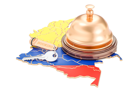 Colombia booking concept. Flag with hotel key and reception bell, 3D rendering Stock Photo