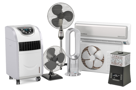 Cooling and climate electric equipment. 3D rendering isolated on white background Фото со стока