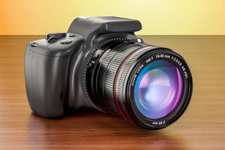 Digital single-lens reflex camera on the wooden table, 3D rendering