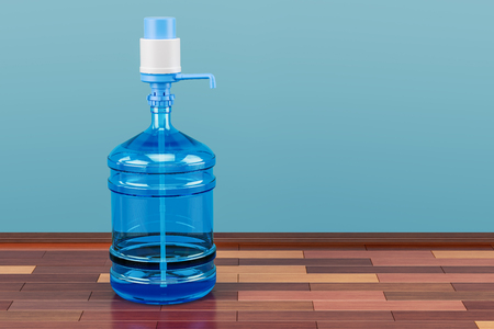 Drinking Water bottle with pump dispenser in room on the wooden floor, 3D rendering Stock Photo