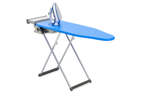Electric steam iron on the ironing board, 3D rendering isolated on white background