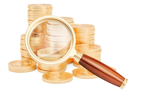 Golden coins with magnifier, 3D rendering isolated on white background