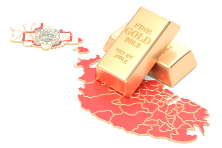 Golden reserves of Malta concept, 3D rendering isolated on white background