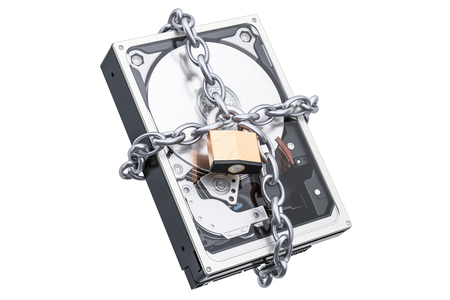 Hard Disk Drive HDD with chain and padlock. Security and protection concept, 3D rendering Stock Photo