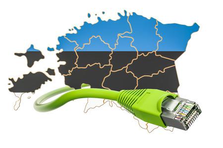 Internet connection in Estonia concept. 3D rendering isolated on white background Stock Photo