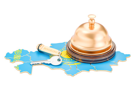 Kazakhstan booking concept. Flag with hotel key and reception bell, 3D rendering Stock Photo