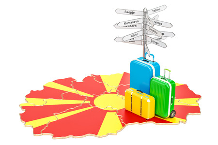 Macedonia travel concept. Macedonian map with suitcases and signpost, 3D rendering
