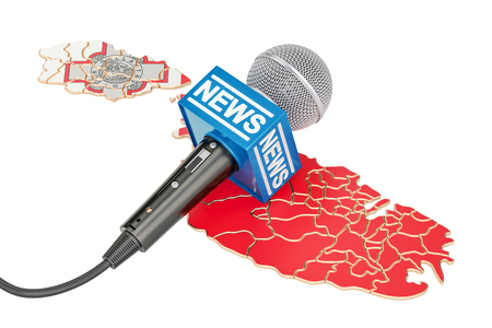 Malta News concept, microphone news on the map. 3D rendering