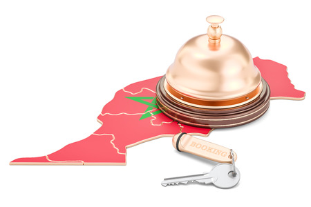 Morocco booking concept. Flag with hotel key and reception bell, 3D rendering