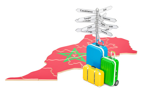 Morocco travel concept. Moroccan map with suitcases and signpost, 3D rendering