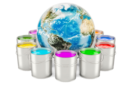Paint cans with Earth Globe, 3D rendering isolated on white background