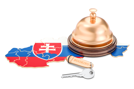 Slovakia booking concept. Flag with hotel key and reception bell, 3D rendering
