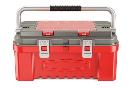 Toolbox closeup, 3D rendering isolated on white background