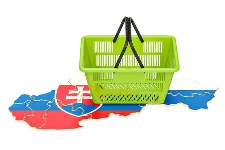 Shopping basket on Slovak map, market basket or purchasing power in Slovakia concept. 3D rendering Foto de archivo