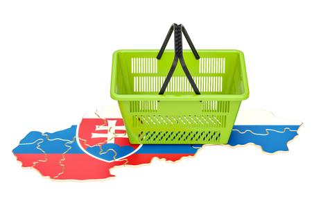 Winkelmandje op Slowaakse kaart, marktmand of koopkracht in het concept van Slowakije. 3D-weergave Stockfoto