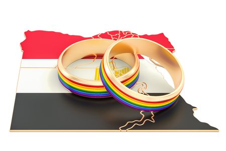 Egypt map with LGBT rainbow rings, 3D rendering Stock Photo