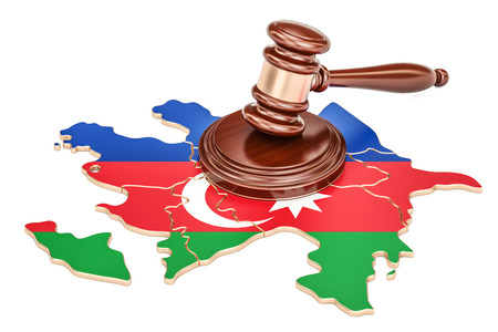 Wooden Gavel on map of Azerbaijan, 3D rendering isolated on white background