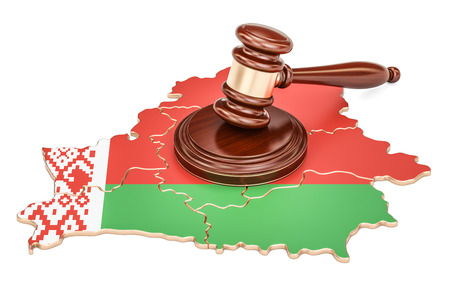 Wooden Gavel on map of Belarus, 3D rendering isolated on white background Stock Photo