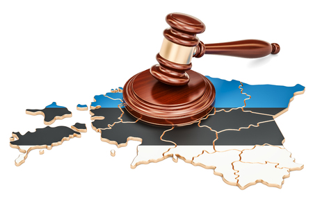 Wooden Gavel on map of Estonia, 3D rendering isolated on white background Stock Photo