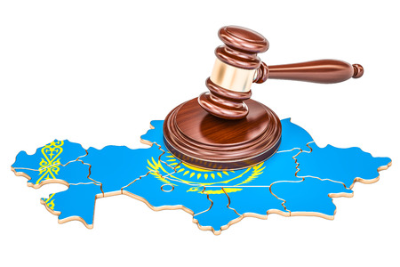 Wooden Gavel on map of Kazakhstan, 3D rendering isolated on white background